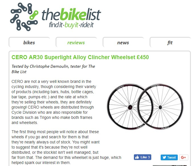 Cero AR30 Review at The Bike List