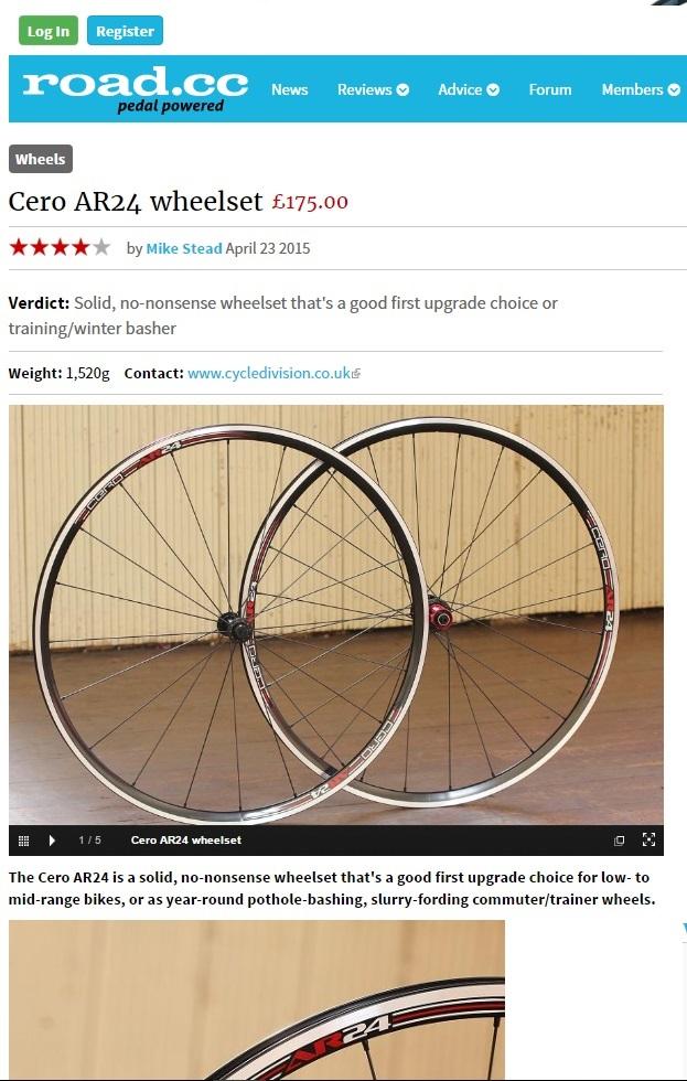 Road.cc reviews Cero AR24 Wheels