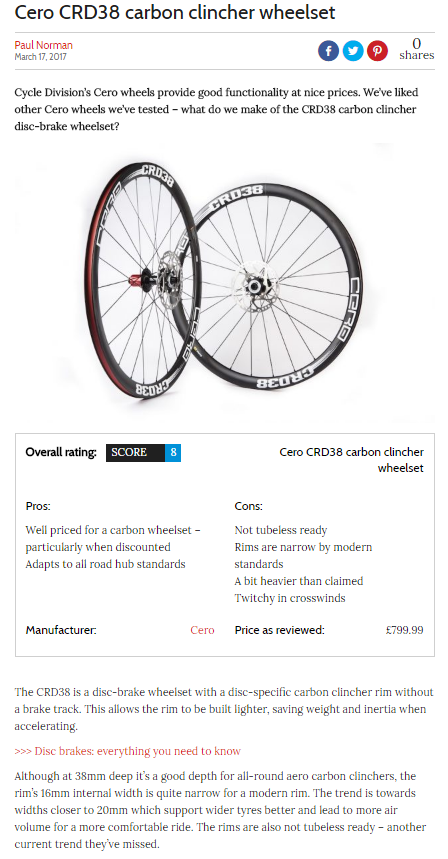 Cycling Weekly's review on the Cero CRD38's