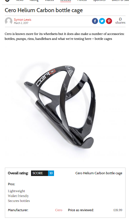 Cero Helium Carbon Bottle Cage reviewed by Cycling Weekly