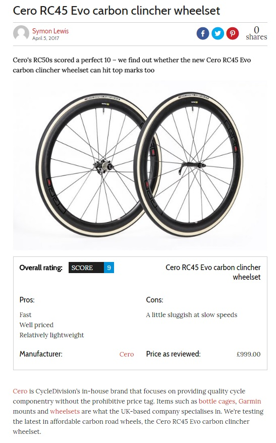 Cero RC45 Evo review by Cycling weekly ticks the boxes