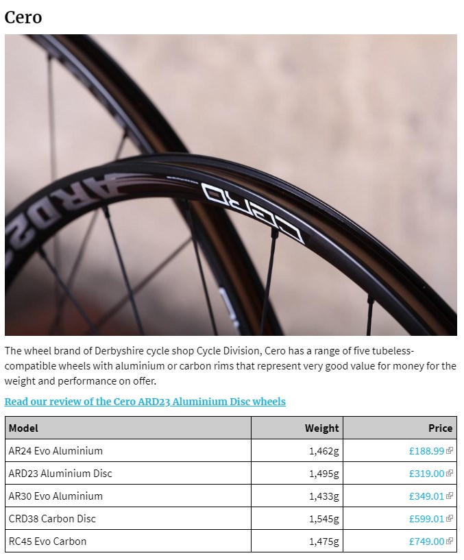 Cero Wheels featured in Road.CC Tubeless Wheelset Buyers Guide