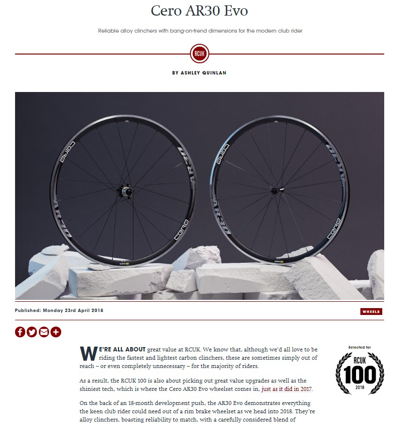 Screenshot of Cero AR30 Evo Wheelset Review from Road Cycling UK